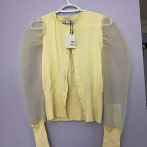 Zara Yellow Puff sleeve cardigan